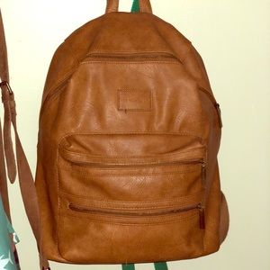 EUC faux leather Honest Co backpack diaper bag
